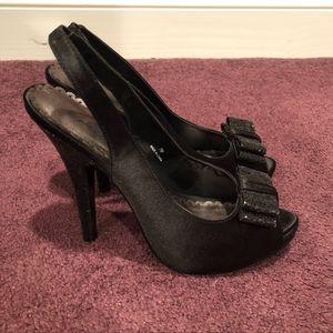 Black Bow Glitter Heels